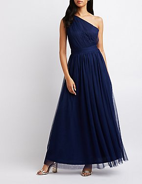 Ruched One-Shoulder Maxi Dress
