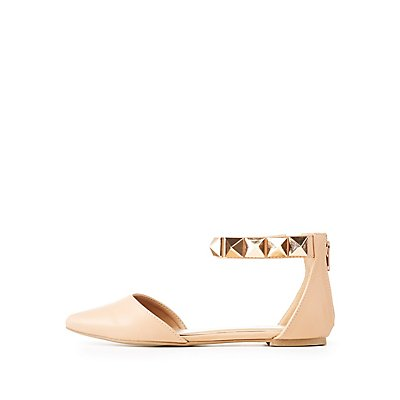 Pointed Toe Pyramid-Trim D'Orsay Flats