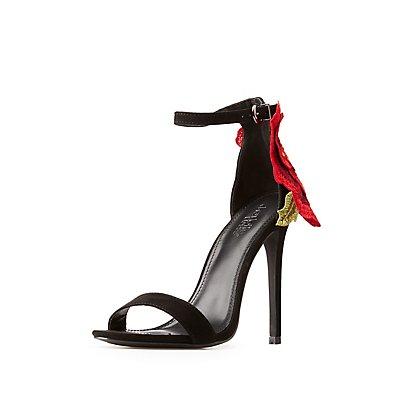 Floral Applique Ankle Strap Sandals