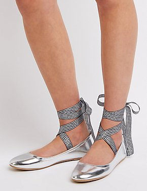 Gingham Print Lace-Up Ballet Flats