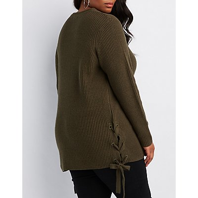 Plus Size Cable Knit Lace-Up Pullover Sweater
