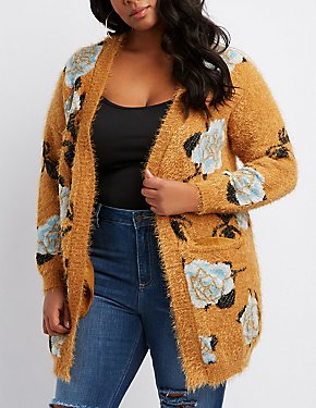 Plus Size Feather Knit Floral Open-Front Cardigan