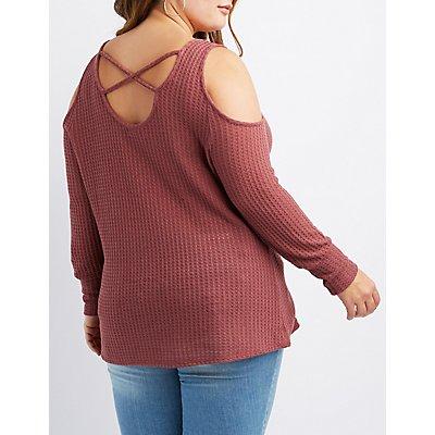 Plus Size Lattice-Back Cold Shoulder Top