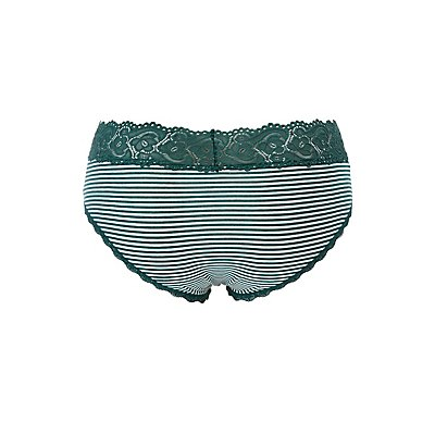 Plus Size Striped Scalloped Lace-Trim Boyshort Panties