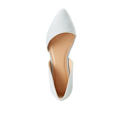 Denim Pointed Toe D'Orsay Flats