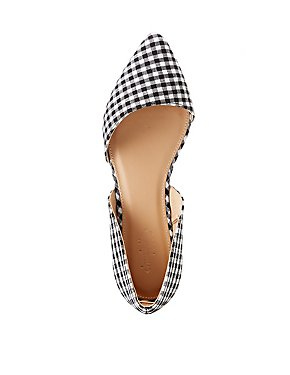 Gingham Pointed Toe D'Orsay Flats