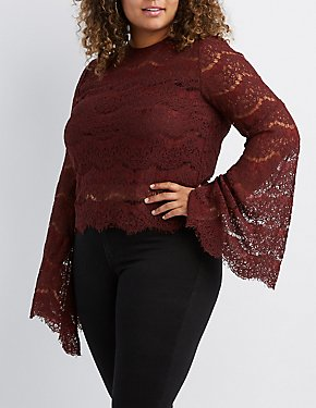 Plus Size Scalloped Lace Bell Sleeve Top