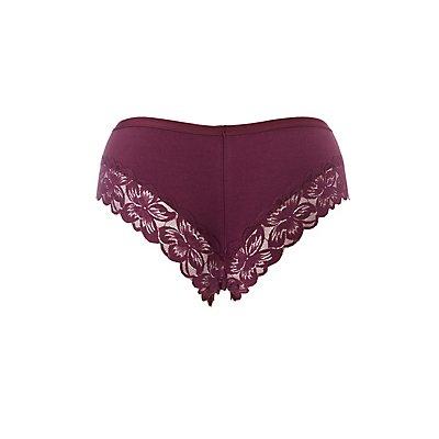 Plus Size Scalloped Lace-Trim Cheeky Panties