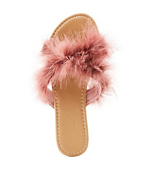 8c7fec1a0e97 Faux Feather Slide Sandals
