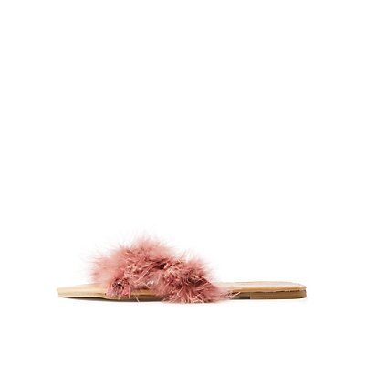 Faux Feather Slide Sandals