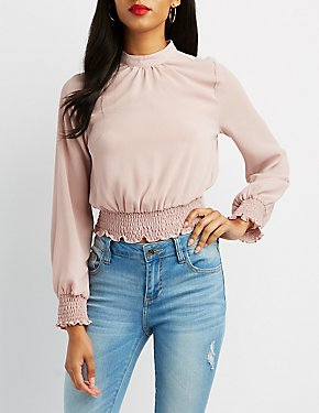 Mock Neck Smocked-Hem Top