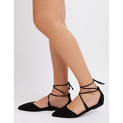 Lace-Up Pointed Toe Ballet Flats