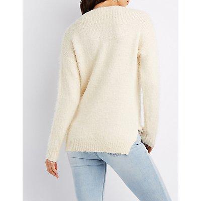 Sequin & Bead-Trim Pullover Sweater