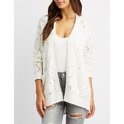 Open Knit Fuzzy Boyfriend Cardigan