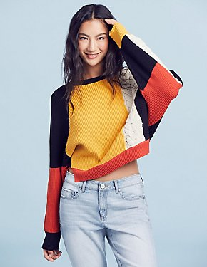 Colorblock Dolman Pulllover Sweater