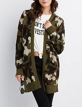 Camo Open-Front Cardigan