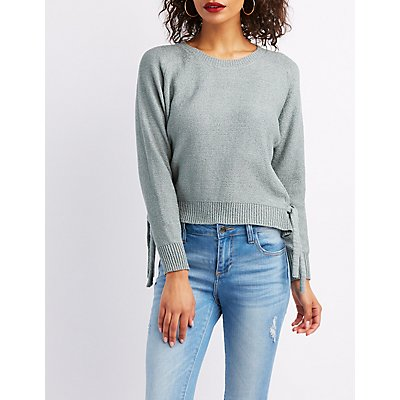 Crew Neck Tie Cropped Sweater