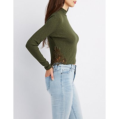 Crochet Detailed Mock Neck Ribbed Knit Top