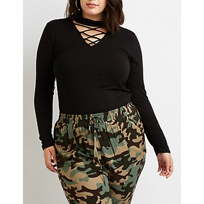 Plus Size Caged Mock Neck Tee