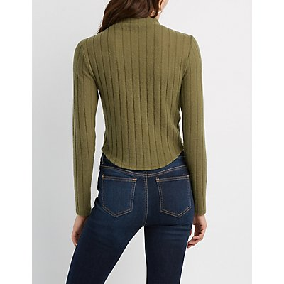 Hacci Knit Mock Neck Top