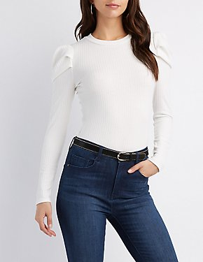 Embellished Shoulder Rib Knit Top