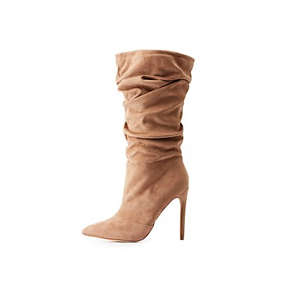 Ruched Pointed Toe Mid Calf Boots