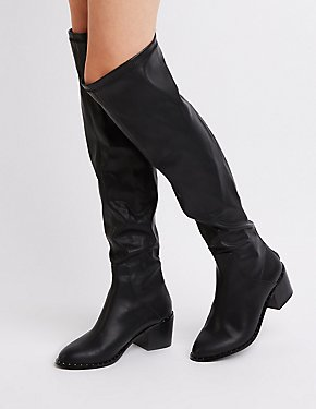 Faux Leather Zip-Back Over-The- Knee Boots