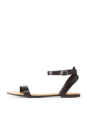 Faux Leather Two-Piece Sandals
