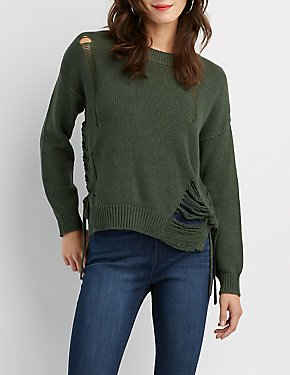 Destroyed Lace-Up Sweater