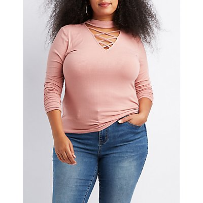 Plus Size Ribbed Mock Neck Lattice-Front Top