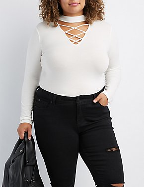 Plus Size Ribbed Choker Neck Lattice-Front Top