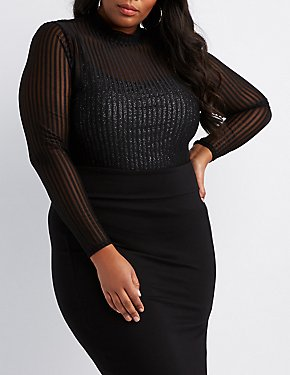 Plus Size Shadow Stripe Mock Neck Top