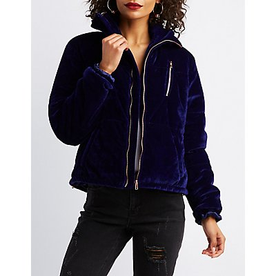 Velvet Quilted Puffer Jacket