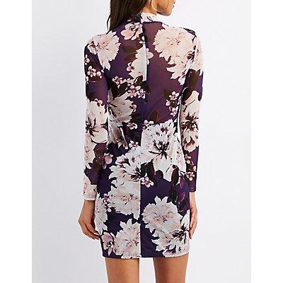Floral Mesh Mock Neck Bodycon Dress