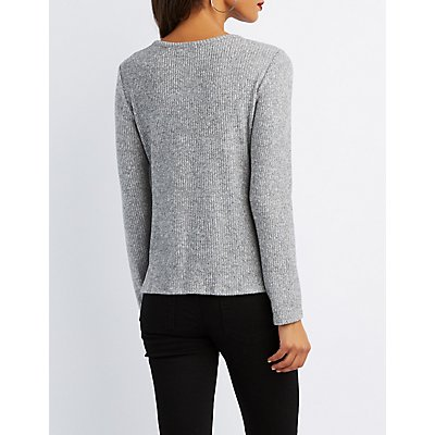 Ribbed Cut-Out Knotted Top