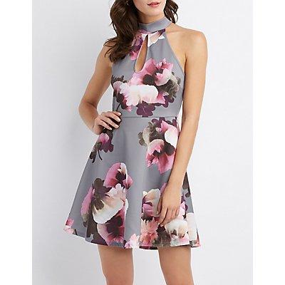 Floral Mock Neck Keyhole Skater Dress