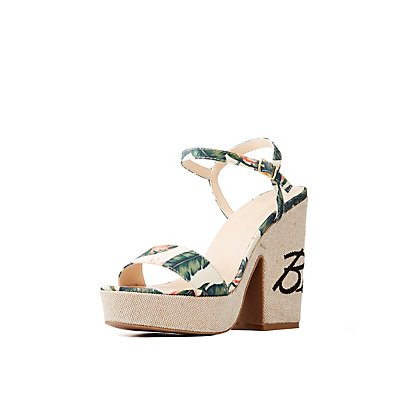Tropical Print Platform Sandals