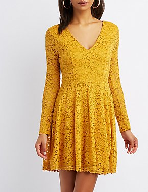 Lace V-Neck Skater Dress