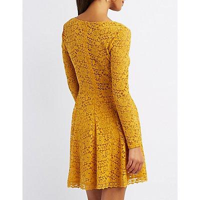Lace V-Neck Skater Dress