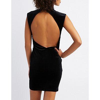 Velvet Mock Neck Open-Back Bodycon Dress
