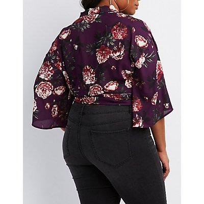 Plus Size Floral Wrap-Tie Top