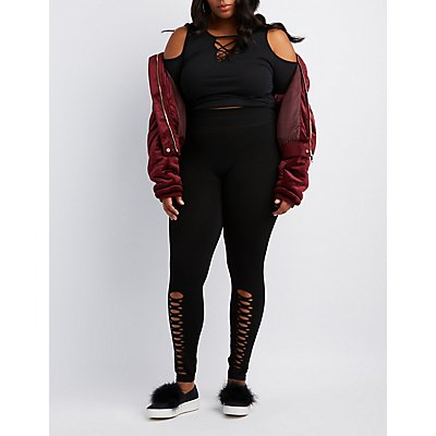 Plus Size Slashed Stretchy Leggings
