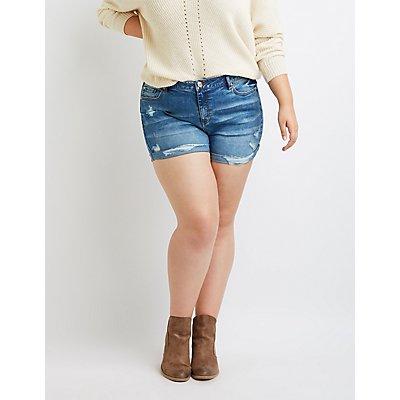 Plus Size Refuge Girlfriend Destroyed Denim Shorts