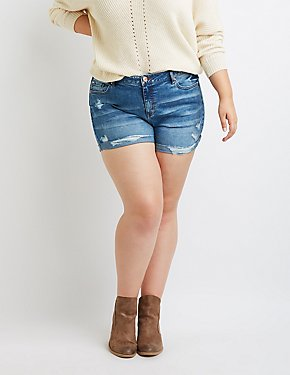 Plus Size Refuge Girlfriend Destroyed Denim Shorts