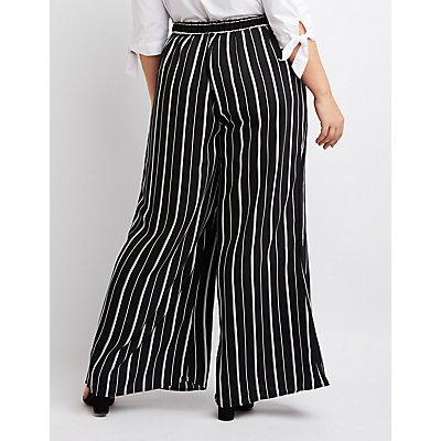 Plus Size Striped Wide Palazzo Pants