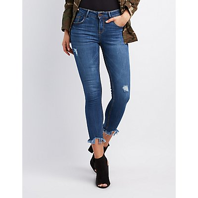 Destroyed Mid-Rise Skinny Jeans