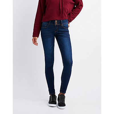 Triple Button Push-Up Skinny Jeans