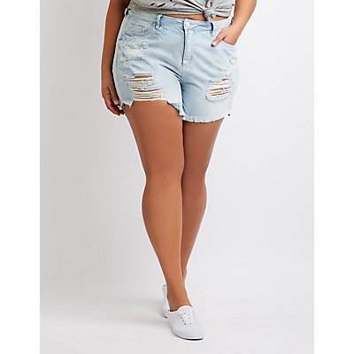 Plus Size Refuge Midi Cut-Off Denim Shorts