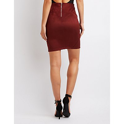 Faux Suede Bodycon Skirt