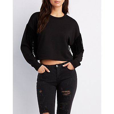 Fringe Sleeves Crop Sweatshirt